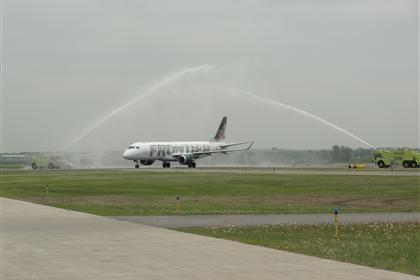 Frontier Airlines Inaugural Flight Arriving in Bismarck
